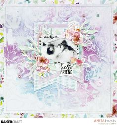 Neat and Crafty: hello friend layout Scrapbook Albums, Scrapbooking Layouts, Tim Holtz Distress Ink, Birthday Tags, Pastel, Specialty Paper, Clear Stamps, Wild Flowers, Creations