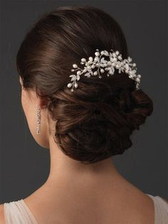 Etsy Pearl Flower Wedding Comb, Freshwater Pearl Bridal Back Comb, Rhinestone Floral Comb, Silver Pearl W