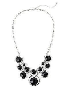 Bold and modern, our new necklace comes in interlocking circles that hold beveled beads inside to create a contemporary cluster design. Lobster claw closure with extender. Customized in size and scale for the plus size woman. For your comfort, all Catherines jewelry is free of lead and nickel. catherines.com