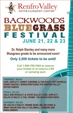 Itching to hear a bit of backwoods blugrass music this summer? Then Renfro Valley's Backwood Bluegrass Festival may be calling your name! June 21-23rd in Mt. Vernon, KY!