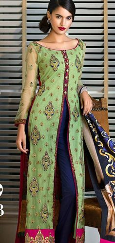 Parrot/Blue Embroidered Lawn Front Open Style Dress $169.99 DESIGNER LAWN 2014 Pakistani Indian Dresses Online, Men Women Clothing and Shoes | PakRobe.com