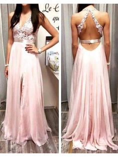 PINK V NECK BACKLESS 2017 LONG PROM DRESS WITH APPLIQUE