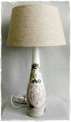 Upcycled / Recycled Bottle Lamp with decoupage via Etsy