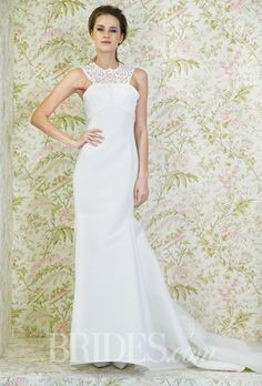 Style N11004 Angel Sanchez Wedding Dress - Spring 2015 Collection - Sleeveless Embroidered Halter Sheath with High Neckline