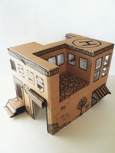 Instruction from Mom: how to make a simple toy house from a cardboard box — DIY is FUN Cardboard Box Houses, Cardboard City, Cardboard Sculpture, Cardboard Toys, Cardboard Playhouse, Cardboard Furniture, Cardboard Model, Diy With Kids, Crafts For Kids