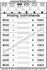 Subtraction – Missing Subtrahends – One Worksheet