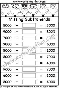 Subtraction – Missing Subtrahends – One Worksheet