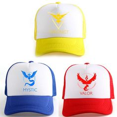 Pokemon Go Team Mystic Instinct Valor Mesh Hat Unisex Game Snapback Cap Cosplay…