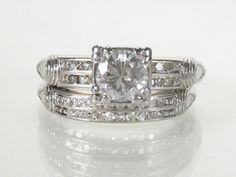 Antique Diamond Platinum Wedding Set  080 Carat by lonestarestates, $1600.00
