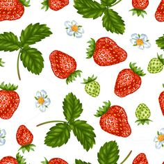 Patterns with red strawberries  @creativework247