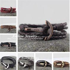 LOW0018LB 2016 Fashion Jewelry Hot Sale 40cm PU Leather  Bracelet Men  Anchor Bracelets For Women Best Friend Gift Free Shipping