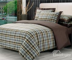 High Quality  Elegant Vintage London Style Check pattern 4 Piece Bedding Sets