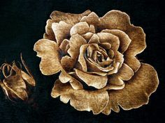 Wood fired with pyrography - a flower - Brandmalerei Wood Burning Crafts, Wood Burning Patterns, Wood Burning Art, Wood Burning Techniques, Pyrography Patterns, Pyrography Ideas, Got Wood, Leather Art, Wooden Crafts
