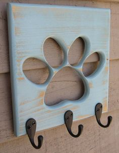 Dog Leash Holder Paw Pet Wooden Pet Collar Rack Oil Rubbed Bronze Hooks Distressed Calypso