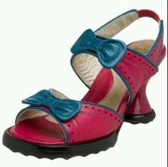 JOHN-FLUEVOG-MINIS-BIPS-PUMPS-8-5-HEELS-SHOES-with-BOWS-FUCHSIA-TEAL