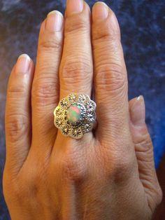 Sz 8, Genuine ETHIOPIAN WELO OPAL Gemstone, 925 Solid Sterling Silver Handcrafted Designer Ring Jewellery. by AmeogemPreciousJewel on Etsy