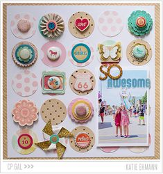 #papercraft #scrapbook #layout - Crate Paper | CP Gal Katie Ehmann | So Awesome dotted layout using the beautiful Oh Darling collection
