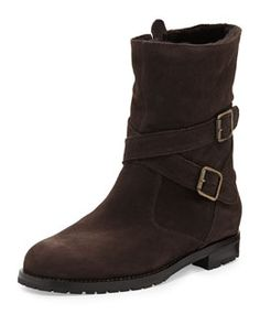 X2AJM Manolo Blahnik Campocros Crisscross Belted Mid-Calf Boot with Shearling, Brown