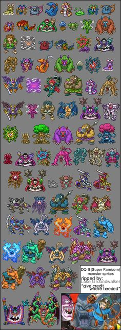 Dragon Quest 2 Sprite Sheets - SNES Game Design, Akira, Dragon Warrior Monsters, Dragon Quest 8, Manga, Monster Games, 2d Game Art, Pokemon, Nostalgia