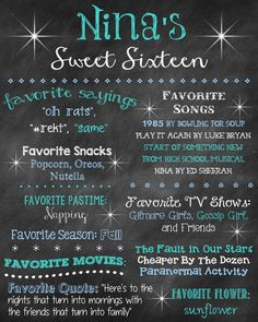 Sweet Sixteen Chalkboard Poster Sweet 16 Poster Sweet 16 Chalk Board Birthday Poster Sweet Sixteen Favorites Poster Sign Any Age