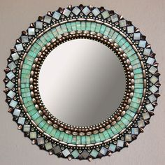 Jade Bronze Mirror now featured on Fab. Make with sea glass! Mirror Mosaic, Mosaic Art, Mosaic Glass, Mosaic Tiles, Glass Art, Mosaics, Mirror Bathroom, Mirror Mirror, Small Bathroom
