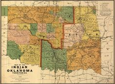 State Map of Oklahoma  1892 by HistoricPerspectives on Etsy