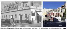 Casa dels Cargols, carrer Llobregat con Montseny año 1996 cuando aún estaban las viviendas exteriores, y fotografía de Francisco Gilavert de 2016