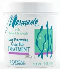 Mermade with Marine Life Protein Deep Penetrating Cream Hair Treatment by L'Oreal Paris. $249.99. Marine Life Protein. Best hair dressing for curly hair in the world!. Intense treatment penetrates to fill in damaged, porous hair shafts & smooths texture. Low 3.0 PH normalizes alkalinity allowing instant detangling. Deep Penetrating Conditioner Repairs Damaged Hair. Who wouldn't envy mermaids their long, lush, radiantly lustrous hair? No wonder myth has it that sailors shipwr...