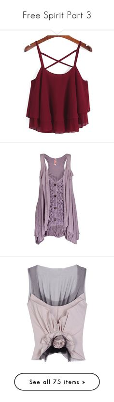 """""""Free Spirit Part 3"""" by jinx13a ❤ liked on Polyvore featuring tops, shirts, crop tops, tank tops, red, purple vest, chiffon shirt, chiffon tank top, spaghetti strap tank tops and purple tank top"""
