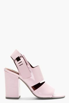 Alexander Wang pink patent leather Sara heeled sandals | block heel | summer staple | versatile | soft pink