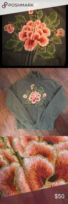 Lucky Brand Embroidered Zip Up Sweatshirt Gently worn. A few small pulls in embroidery (see pics) but otherwise in excellent shape! Olive green with beautiful pink/coral floral design. Size small. Lucky Brand Tops Sweatshirts & Hoodies