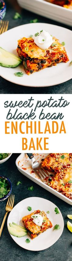 A healthy make-ahead dish the whole family will love, this sweet potato black bean enchilada bake is layered with tortillas, sweet potatoes, black beans, cheese and a homemade enchilada sauce. Vegetarian, gluten-free and absolutely delicious!