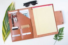 Legal Pad Leather Document Folder, Personalized Leather Document Holder, Custom Leather A4 Leather Portfolio, Business Portfolio Personalize