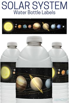 Cool Space Solar System water bottle labels. Fun idea for any space party! #spaceparty #spaceideas #spacebirthday #schoolscienceparty