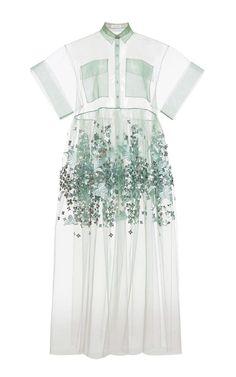 Delpozo RTW Spring 2015, Mint Print Embroidered Bobbinet Tulle Dress