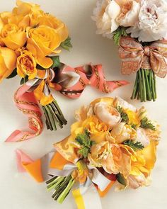 flowers tied with cute scarves