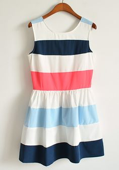 Blue Striped Round Neck Sleeveless Mini Dacron Dress