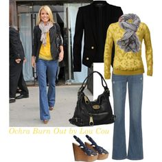 The Ochre Burnout Sweater is perfect for a pop of color with your denim. Recreate this with the Farrah Jeans from last two seasons or the Storm Baby Boot from Fall 13....along with the F13 Moto Jacket, Pinstripe Jacket, Owens Jacket or any CAbi Vintage Jacket you might have! Layer on your favorite scarf  and you've got Kelly Ripa's cool fall look!