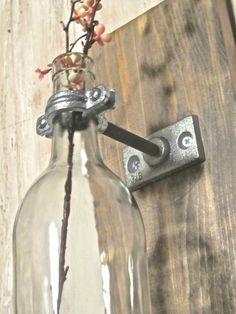 Wine Bottle Wall Mounted Vase set of 3 by aBurlapBoutique on Etsy, $52.00