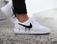 Nike Roshe Run One White with Custom Black Candy Drip Swoosh Paint by DenisCustoms on Etsy https://www.etsy.com/listing/290134993/nike-roshe-run-one-white-with-custom