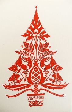 loving this xmas design. may have to try for our cards xoxo Six Vintage Christmas Cards/Hungarian Folk Art. $18.00, via Etsy.: