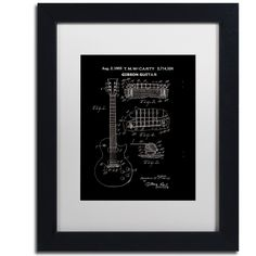 1955 McCarty Gibson Guitar by Claire Doherty Framed Graphic Art in Black