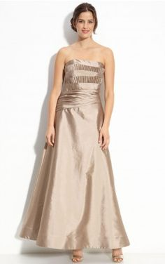 Elegant Strapless A-line Satin Sleeveless Ankle-length Wedding Party Dresses