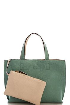 Street Level Sage Vegan Reversible Leather Shopper With Coin Purse