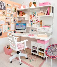 45 DIY Corner Desk Ideas with Simple and Efficient Design Concept Girl Bedroom Designs, Room Ideas Bedroom, Bedroom Decor, Study Room Decor, Cute Room Decor, Wall Decor, Home Office Design, Home Office Decor, Home Decor