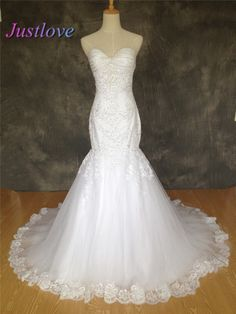 Find More Wedding Dresses Information about Custom Made 2016 New Mermaid Wedding Dresses Lace Appliques Beading Tulle Wedding Bridal Gowns Real Image vestido de Novia,High Quality bead pandora,China beaded lace wedding gown Suppliers, Cheap gown bag from Justlove international wedding dress Ltd. on Aliexpress.com