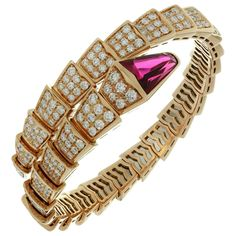 Bulgari Serpenti Rubellite Diamond Gold Bracelet | From a unique collection of vintage more bracelets at https://www.1stdibs.com/jewelry/bracelets/more-bracelets/