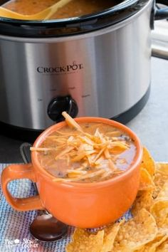 Slow Cooker Chicken Enchilada Soup {Freezer Meal Friendly} - The Magical Slow… Slow Cooker Freezer Meals, Crock Pot Slow Cooker, Crock Pot Cooking, Slow Cooker Chicken, Slow Cooker Recipes, Crockpot Recipes, Cooking Recipes, Freezer Cooking, Freezer Soups