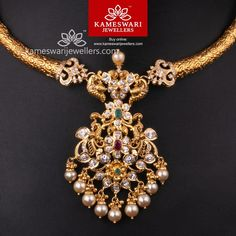 Buy Necklaces Online | Kanti Carved With CZ Pachi Pendant from Kameswari Jewellers