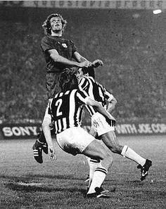 Ajax 1 Juventus 0 in May 1973 in Belgrade. Piet Kiezer heads clear as Juve pour forward in the European Cup Final.